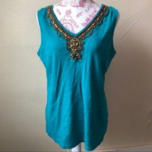 Dress Barn Beaded Ribbed Tank Top 18/20W Teal